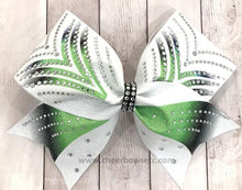 Load image into Gallery viewer, Victory Lime Black Dye Sub Rhinestone cheerleading hair bow