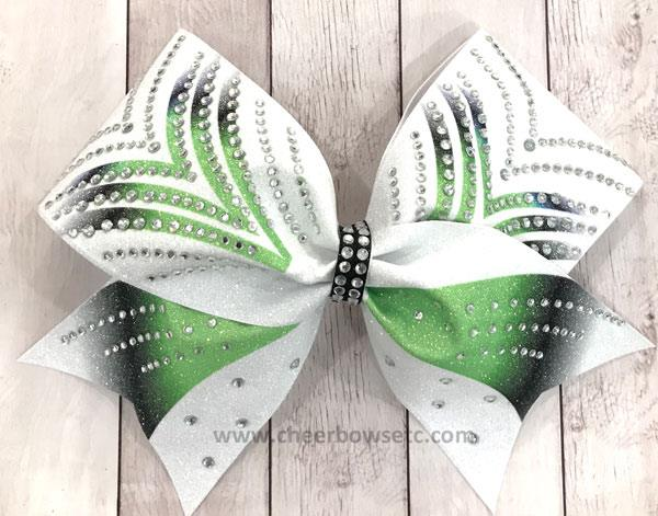 Victory Lime Black Dye Sub Rhinestone cheerleading hair bow