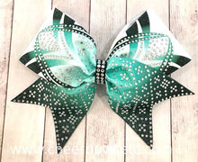 Load image into Gallery viewer, Teal Dye Sublimation Rhinestone Cheer Bow