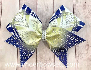 Gold and Royal Blue Dye Sublimation Girly Hair Bow