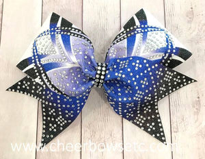 Royal Blue Dye Sublimation Rhinestone Cheer Bow