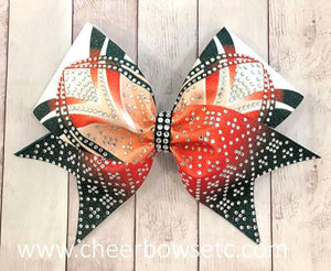 Top of the line Orange Dye Sublimation Cheer Bow