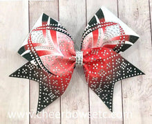 Load image into Gallery viewer, Red Dye Sublimation Rhinestone Hair Bow