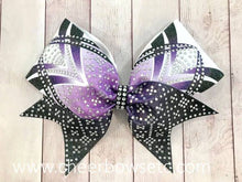 Load image into Gallery viewer, Dye Sublimation Purple Cheerleading Competition Rhinestone Bow