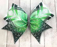 Load image into Gallery viewer, Lime Green Dye Sublimation Rhinestone Cheer Bow