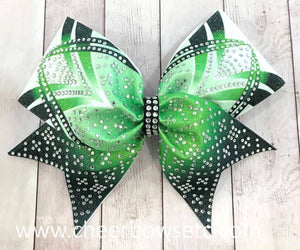 Lime Green Dye Sublimation Rhinestone Cheer Bow