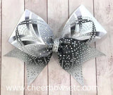 Black and White Dye Sublimation Rhinestone Cheerleading Hair Bow