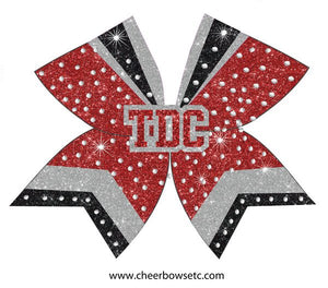Red Silver & Black 3D Center bow