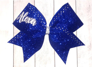 Royal Blue Glitter and Rhinestone Cheer Bow