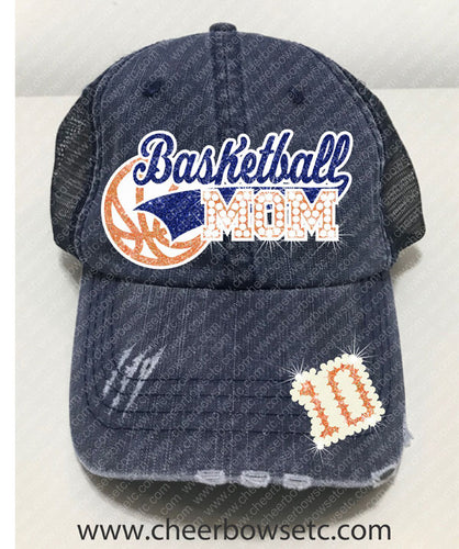 Basketball Mom Denim Hat-Flock, Glitter & Rhinestones