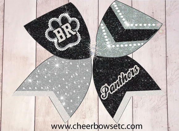 Cute paw print cheer bow with team lettering and personalized team name with chevrons