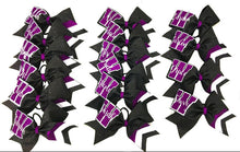 Load image into Gallery viewer, Purple & Black Chevron Collegiate Bow