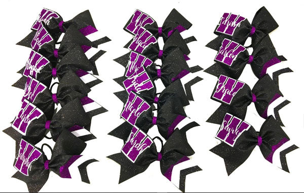 Purple & Black Chevron Collegiate Bow