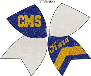 Tick Tock Royal and White glitter bow with cheerleaders name personalized