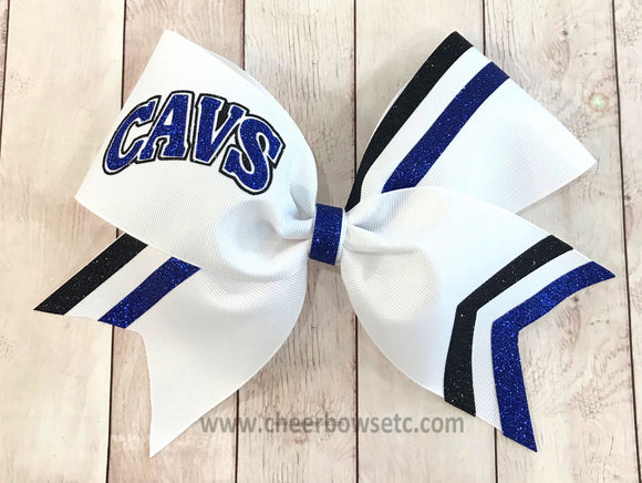 Collegiate Cavs Cheer Bow-White grosgrain, black and royal glitter.