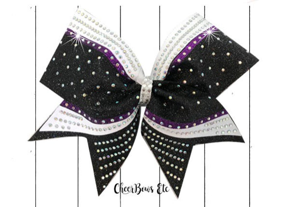 Custom Cheerleading Competition Bow black purple white stones