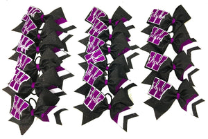 Collegiate purple and white bow