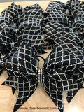 Diamond Material Girl Bows for a team order in black with crystal stones