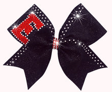 Load image into Gallery viewer, Custom Rhinestone & Glitter cheerleading bows in black,red & crystals.
