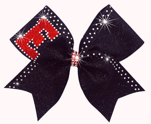 Custom Rhinestone & Glitter cheerleading bows in black,red & crystals.
