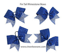 Load image into Gallery viewer, Royal Blue Fin Tail Rhinestone Bows