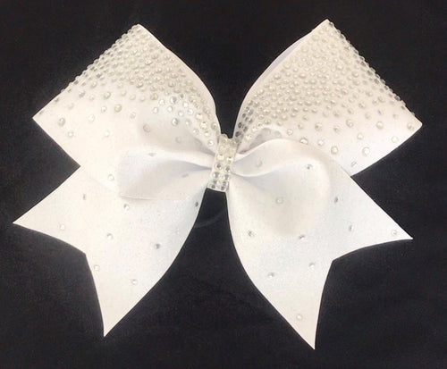 Crystal and White Glitter Frosted Loops Bows