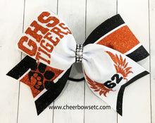 Load image into Gallery viewer, Angel Wings Cheer Bow Orange Black White 62