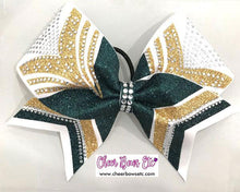 Load image into Gallery viewer, hunter green gold and white cheer bow girl power