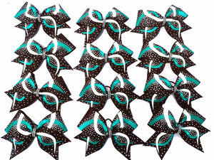 Team cheerelading bows with Teal, white and black glitter
