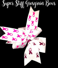 "Load image into Gallery viewer, 2-1/4"" Super Hot Pink Double Grosgrain Awareness Ribbon Bow"