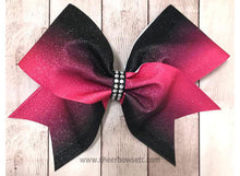 Load image into Gallery viewer, hot pink and black cheer bow for competition cheerleaders