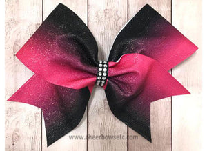 hot pink and black cheer bow for competition cheerleaders