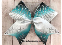 Load image into Gallery viewer, dye sublimation rhinestone cheer bow teal and black