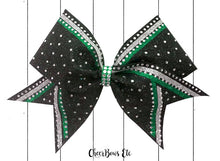 Load image into Gallery viewer, emerald green silver and black cheerleading hair bow