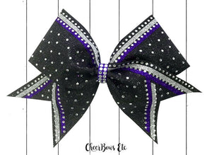 purple silver and black cheerleading bow