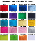 We have your colors in mystique fabric that will make your cheerleading hair bows beautiful.