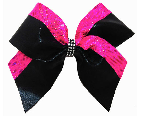 Black and Pink Cheerleading Hair Bow