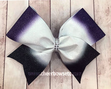 Load image into Gallery viewer, Ombre Purple White & Black Cheer Bows