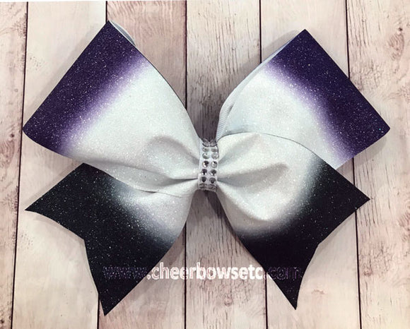 Ombre Purple White & Black Cheer Bows