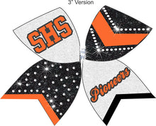Load image into Gallery viewer, Orange Black & White Chevrons and rhinestones on glitter!