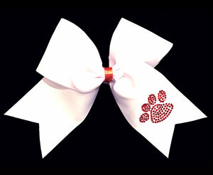 White cheerleading bow with rhinestone paw print