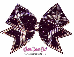 Power X bow shown in black glitter with crystal AB rhinestones-Gorgeous