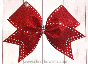 Red Glitter outline Bow
