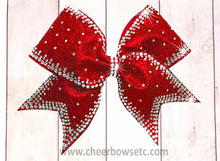 Load image into Gallery viewer, Outline Princess Cheer Bow in red glitter and rhinestones