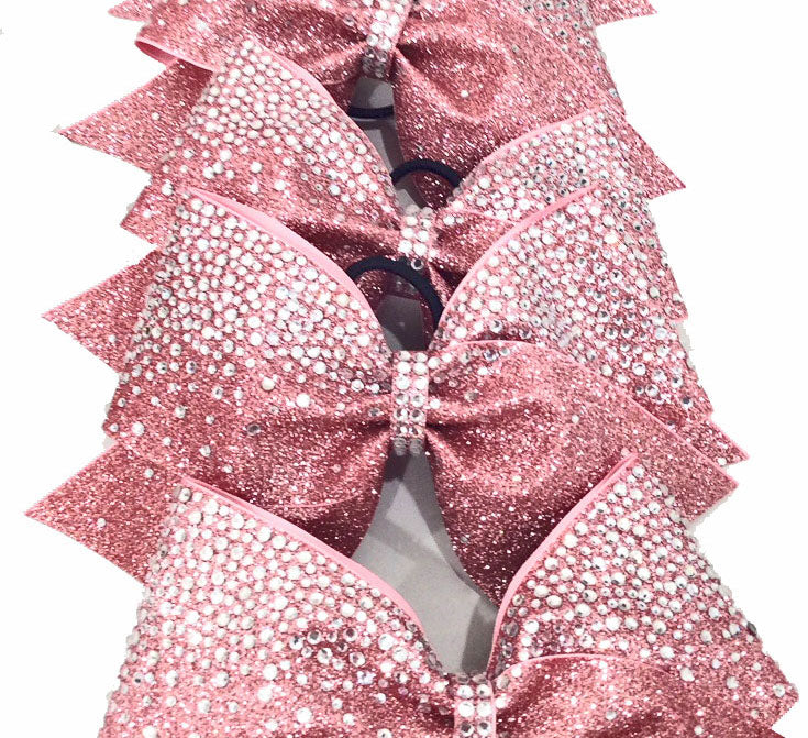 Crystal Frosted Loops Glitter Rhinestone Bow