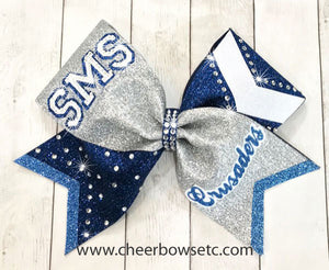 Triple Lettered Rhinestone Bow