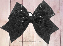 Load image into Gallery viewer, black sequins cheerlading bows