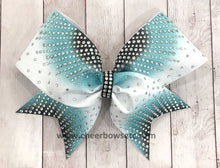 Load image into Gallery viewer, Teal Black Sunray Cheerleading Hair Bow | Cheer Bows Etc.
