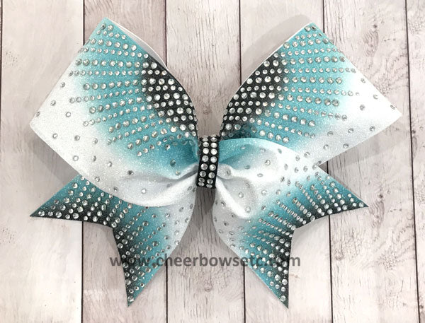 Teal Black Sunray Cheerleading Hair Bow | Cheer Bows Etc.