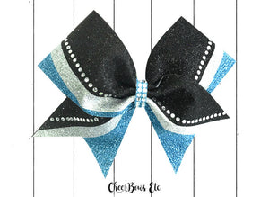 Switch Up Reign cheer bow columbia blue black and silver